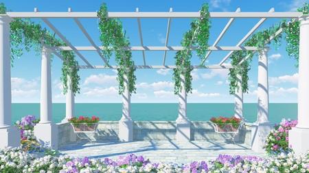 3D balcony in the Roman style Italy 00846