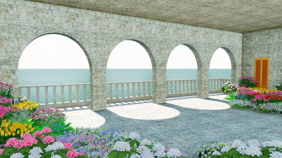 3D balcony Italy mural 00845