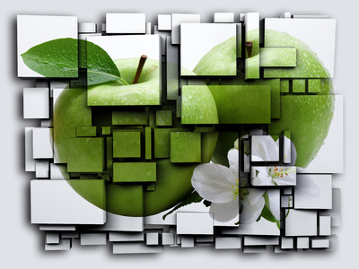 3D cubes green Apple 00397
