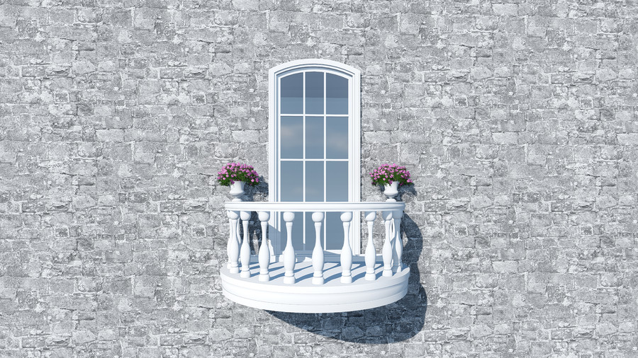 3D Curved balcony in Italy 00836