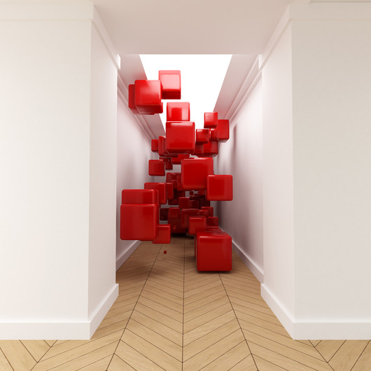 3D red cubes in the air corridor 00379