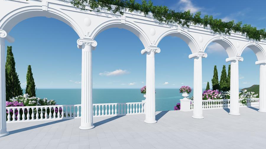 3D Roman balcony 00833