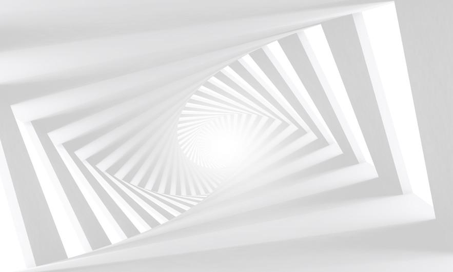 Abstract white  spiral corridor  00293