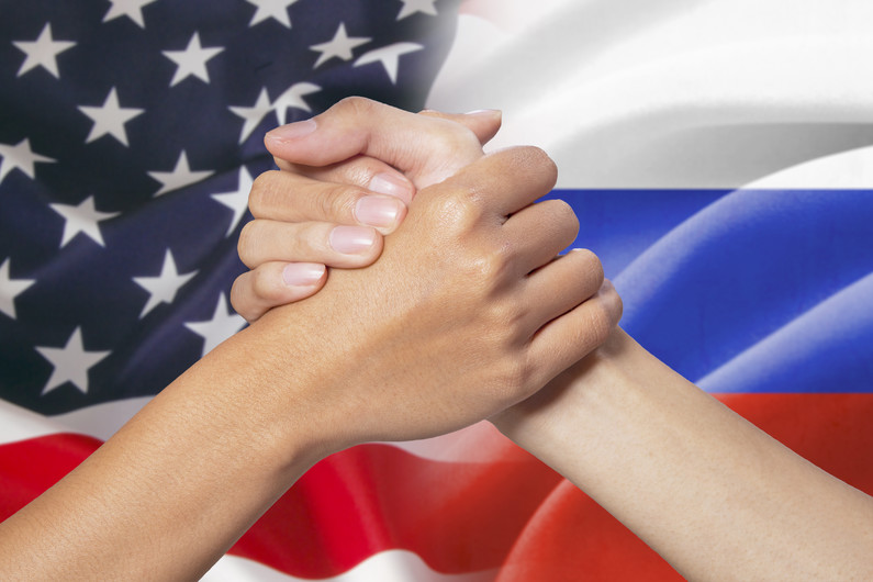 Affiliate hands  American and Russian flags 00981