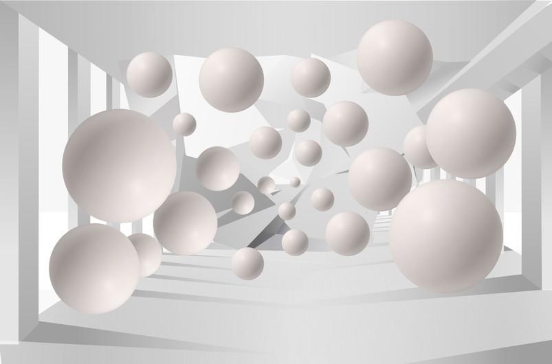 Among the columns, floating balls 3D 00399