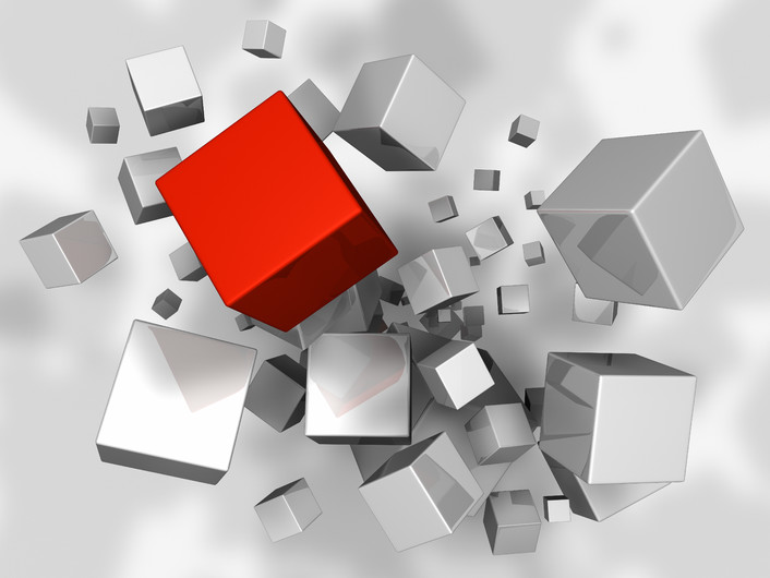 An explosion of white red 3D cubes 00925