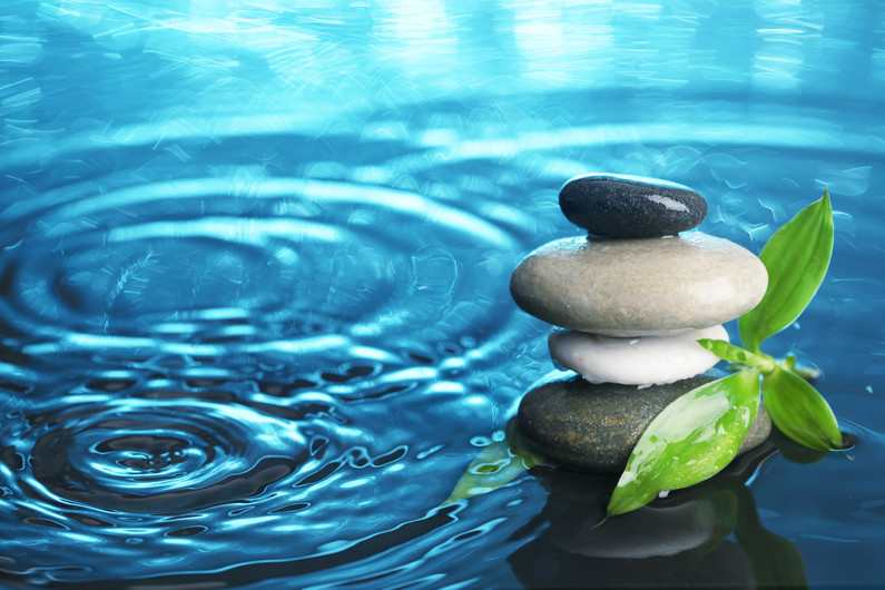 Balanced stones in water 00869