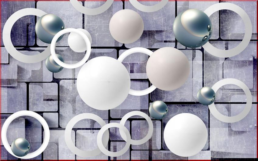Balls and circles abstract  3D 00401