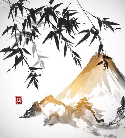 Bamboo trees and mount Fuji 00717