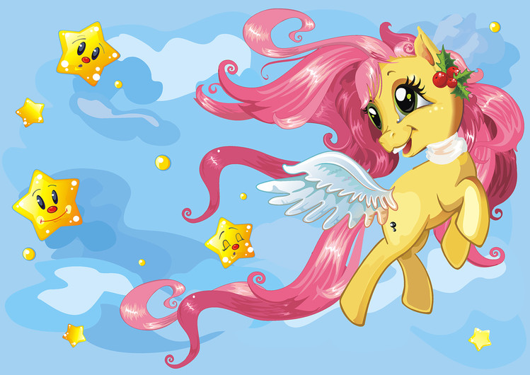 Beautiful little pony running on clouds 00349