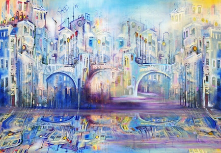 Blue cityscape with three bridges 00481