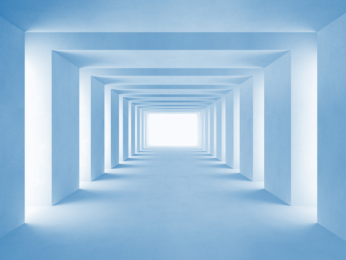 Blue tunnel with lateral lights 00286