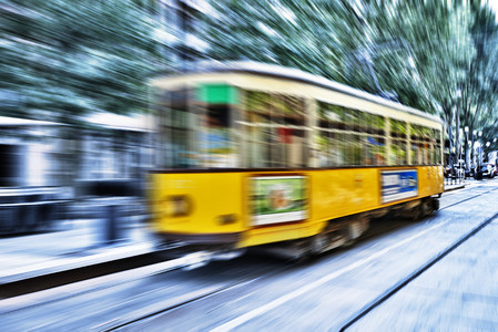 Blurry movement of a tram in Milan, Italy 00842