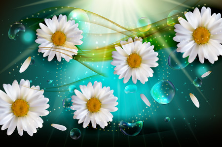 Chamomile in spring and summer background 3D 00893