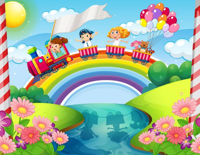 Children on train over rainbow 00365
