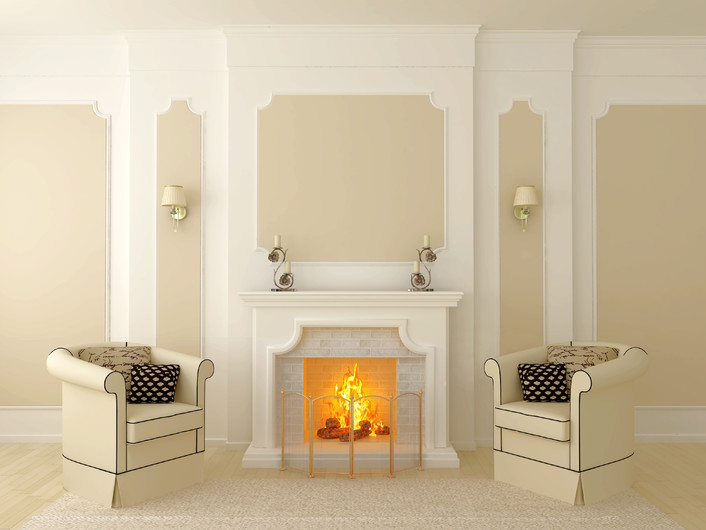 Classic interior with fireplace 00382