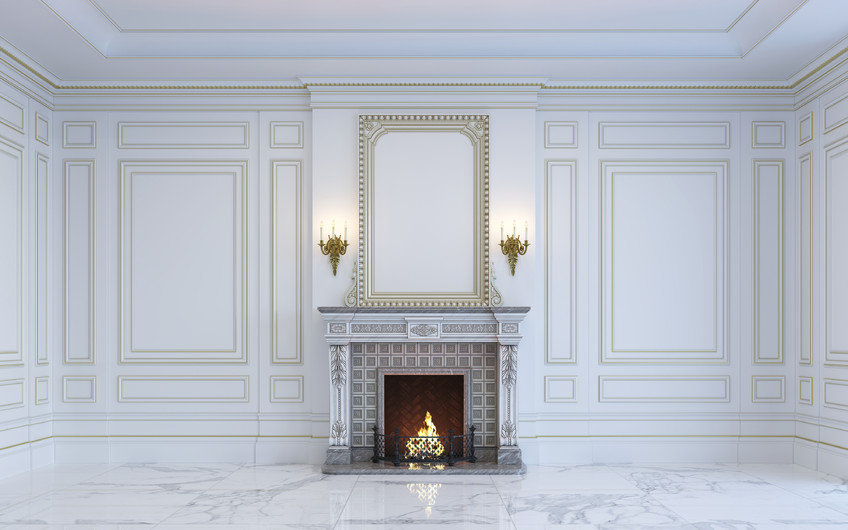Classic interior with marble floors and fireplace 00389