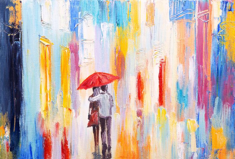 Couple under umbrella 00479