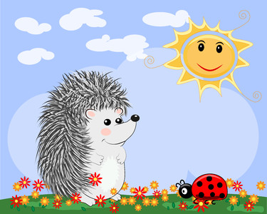 Cute hedgehog and ladybug 00375
