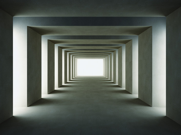 Dark tunnel with lateral lights 00287