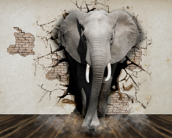 Elephant out of the wall. 3D 00843