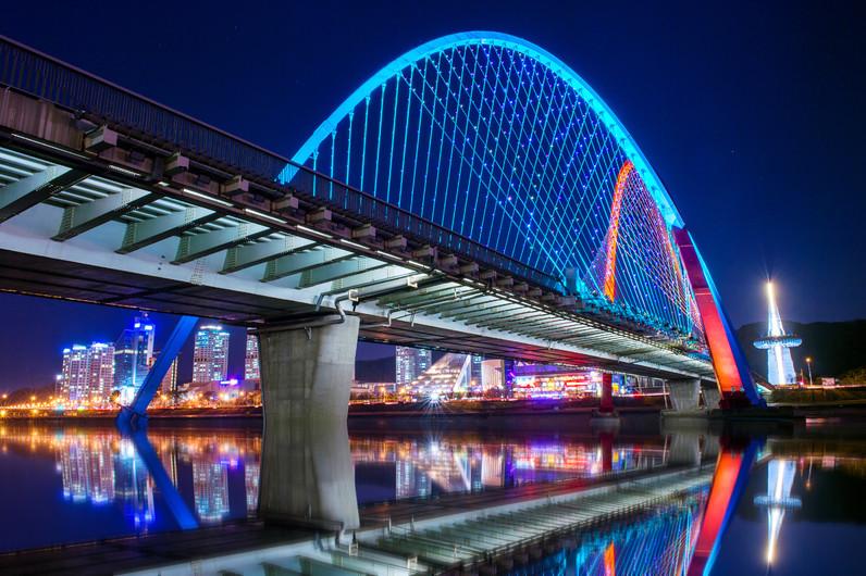 Expo bridge at night in Daejeon, Korea. 00962