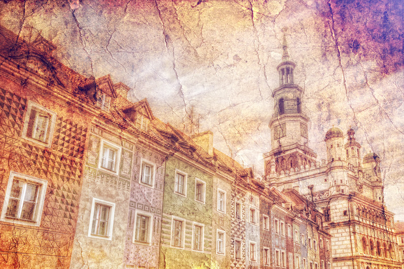 Facade of the old market in retro style 00474