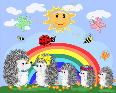 Family of hedgehogs 00376