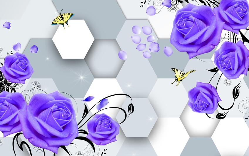 фиолетовые розы 01044