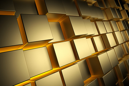 Gold cubes with 3D illumination 00945
