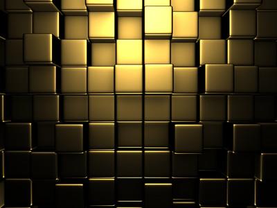 Gold Cubes. 3D 00987