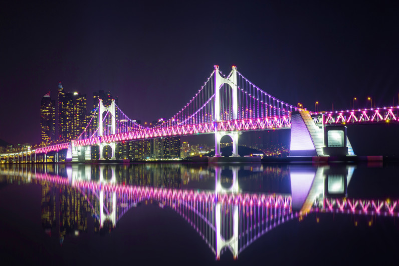 Gwangan bridge and Haeundae in Busan, Korea 00955