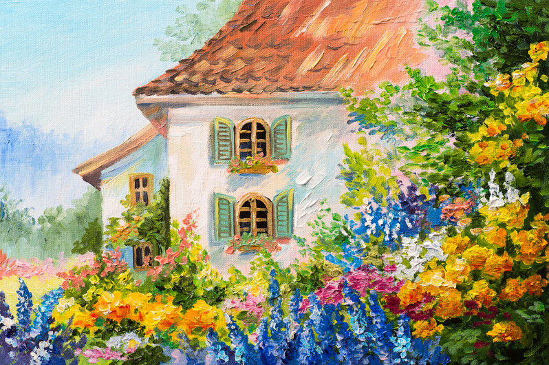 House in flower garden 00494