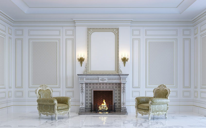 Interior with fireplace and armchairs 00390