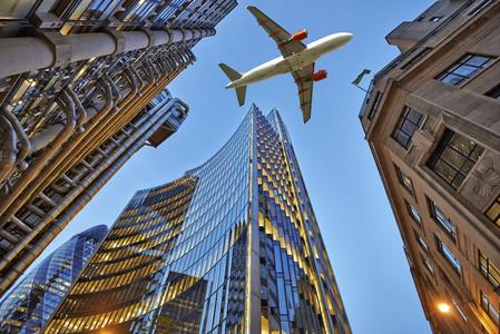 Jet over a skyscraper 00806