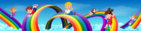 Kids sliding on rainbow in sky 00372