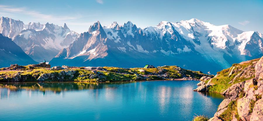 Lake Lac Blanc with Mont Blanc France 00730