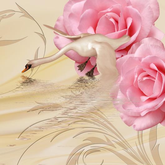 лебедь и розы 01076