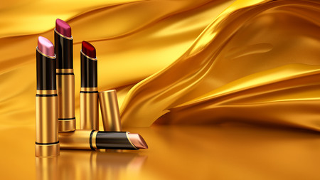 Lipstick on a flying Golden cloth. 3D 00875