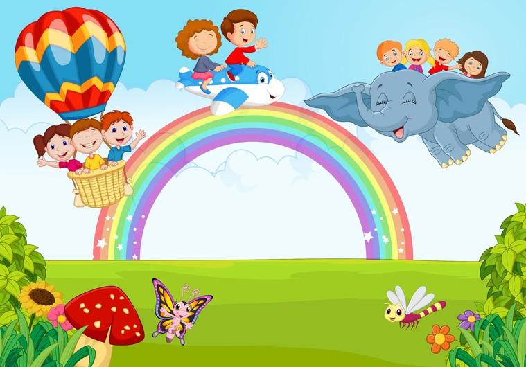 Little kid on the rainbow 00356
