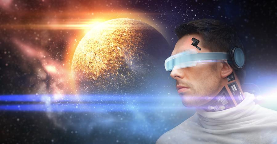 Men's robot in 3D glasses 00853