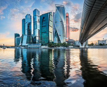 Moscow city with reflection in the Moscow river 00780