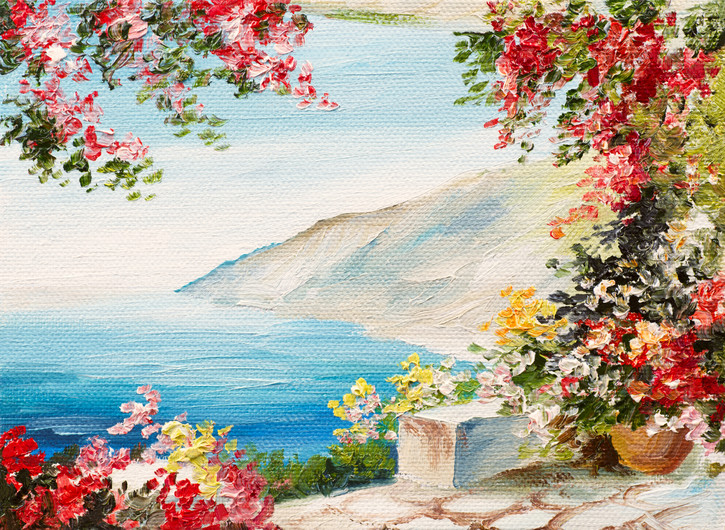 Oil painting - house by the sea 00437
