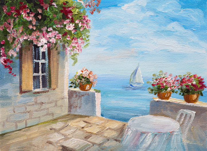 Oil painting - house by the sea 00817