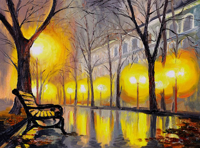 Oil painting of autumn street 00804