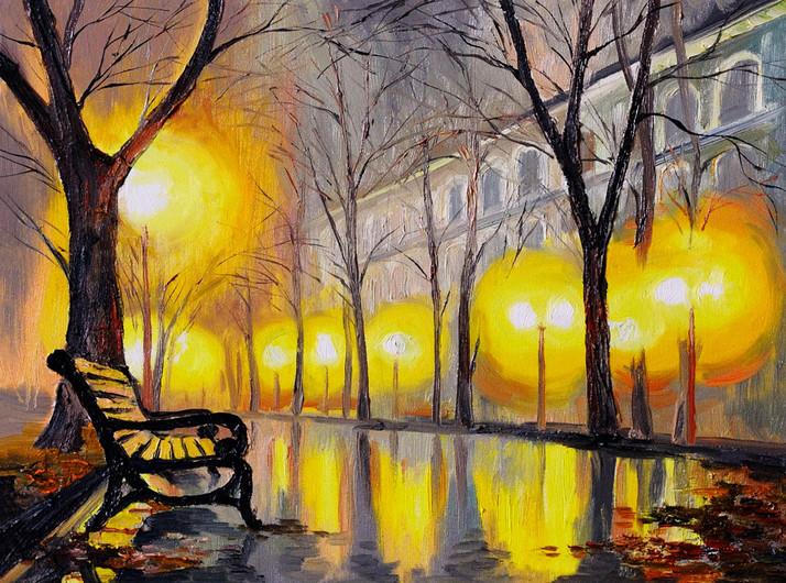 Oil painting of autumn street 00804