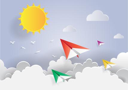 Paper Plane fly in Blue Sky 00315