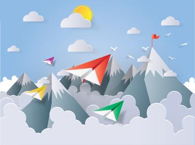 Paper Plane fly in  Sky 00316