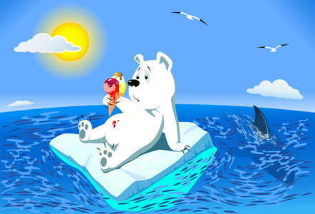 Polar bear with ice cream in ocean 00936