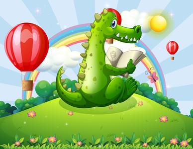 Reading a crocodile under rainbow 00350